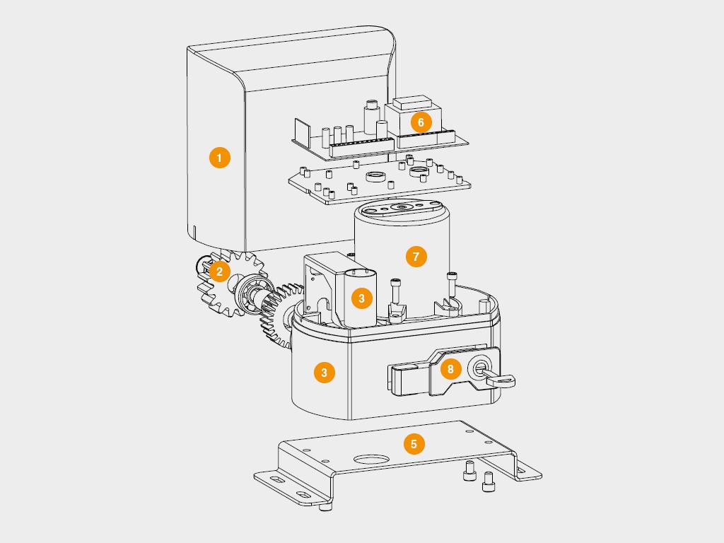 Конструкция Привод SLIDING-500 для откатных ворот весом до 500 кг